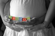 maternity photo shoot - baby name with block letters