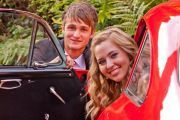 matric farewell photoshoot of couple climbing into car