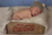 maternity and newborn photography - newborn baby boy in coke crate